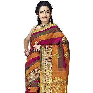 Pure Silk Kanjeevaram Hand woven Saree-Pink-JG3-Silk