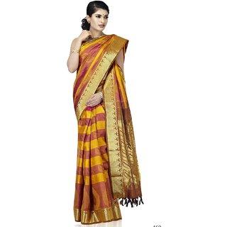 Pure Silk Kanjeevaram Hand woven Saree-Orange-NPGS1-Silk