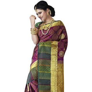 Pure Silk Kanjeevaram Hand woven Saree-Pink-SLNSA4-Silk