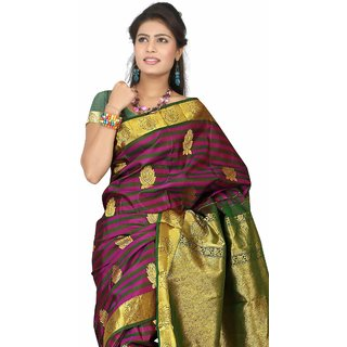 Pure Silk Kanjeevaram Hand woven Saree-Black-DHLS46-Silk