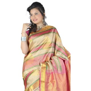 Pure Silk Kanjeevaram Hand woven Saree-Multicolor-JG26-Silk