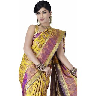 Pure Silk Kanjeevaram Hand woven Saree-Yellow-MKJ12-Silk