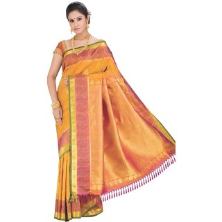 Sudarshan Silks Orange Linen Self Design Saree With Blouse