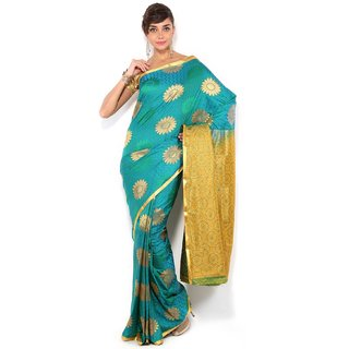 Floral Silk Saree Collections-Blue-MUS56-VS-Georgette