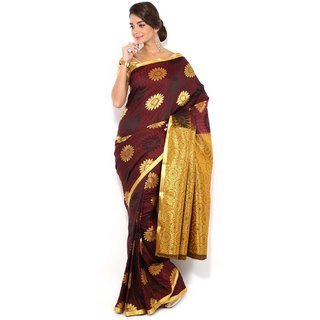 Floral Silk Saree Collections-Maroon-MUS58-VS-Georgette