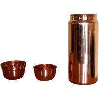 Prisha India Pure Copper Water Bottles Thermos Without Joint High Quality Set Of 2