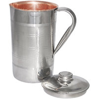 Prisha India Copper Jug Pitcher Outside Stainless Steel Indian Copper Utensils For Ayurveda Healing