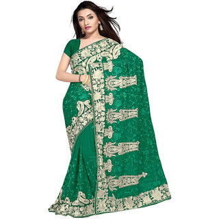 220c80f819df5f Stfw Green Pure Georgette Party Wear Saree 503-C Prices in India-  Shopclues- Online Shopping Store