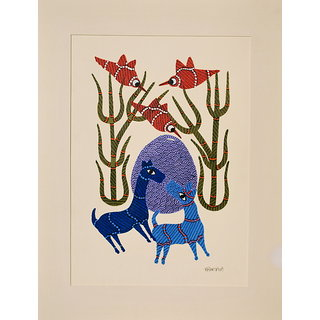 Mandi - Gond Tribal Wall Art - Gond On Paper Animals And Birds - IMGa-026