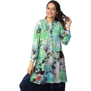 Love From India  Green Floral Print Tunic _buy One Tunic Get One Scraf Free
