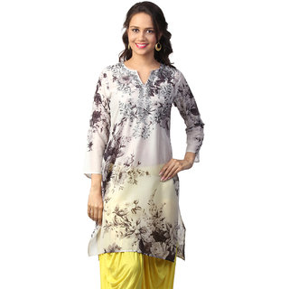 Love FromIndia Grey Floral Monotone Print Tunic_buy One Tunic Get One Scraf Free