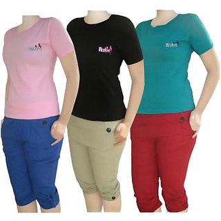 Buy online combo offer for girls 3 tshirts 3 capris for T shirt offer online shopping