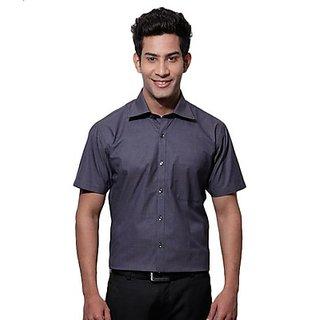 SPEAK Vibrant Navy Blue Self Checks Half Sleeves Shirt