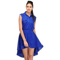 Klick2Style Blue Plain Skater Rayon Dress For Women