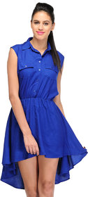 Klick2Style Blue Plain Skater Rayon Dress For Women