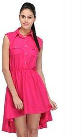 Klick2Style Pink Plain Skater Rayon Dress For Women