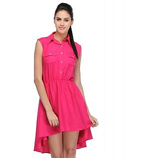 Klick2Style Pink Plain Skater Rayon Dress For Women