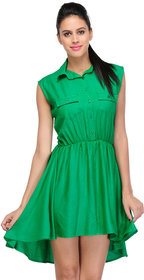 Klick2Style Green Plain Skater Rayon Dress For Women