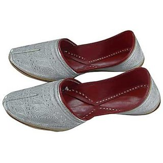 Mens Camel Leather Mojari Red And Silver
