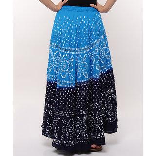 Shoppingtara Bandhej Hand Work Stylish Cotton Skirt (Blue)