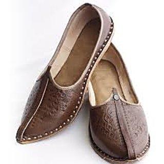 Mens Camel Leather Mojari Brown