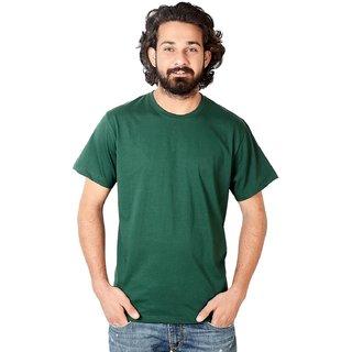 Men's Dark Green Round Neck T-Shirt Half Sleeve, Size-M