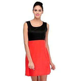 Klick2Style Red and Black Plain Skater Dress For Women