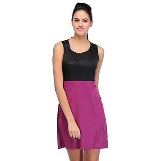 Klick2Style Purple and Black Plain Skater Dress For Women