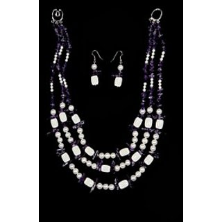 Just Women Amethyst and Shell Pearl Necklace & Earring Set- (JW011101)