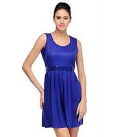 Sukuma Blue Plain A Line Dress For Women