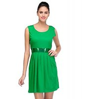 Klick2Style Green Plain A Line Dress For Women