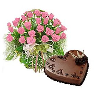 Heart shape Chocolate cake with  pink roses hand bunch