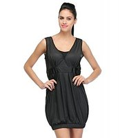 Sukuma Black Plain Midi Dress For Women