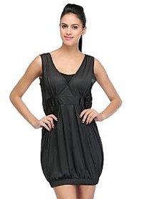 Sukuma Black Plain Midi Dress For Women