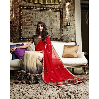 ff0a17ef8a54 Aaradhya Couture Smoke and Maroon Designer Dolly J saree at Best Prices - Shopclues  Online Shopping Store