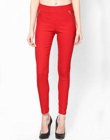 Sukuma Designer Stretchable Red Jegging