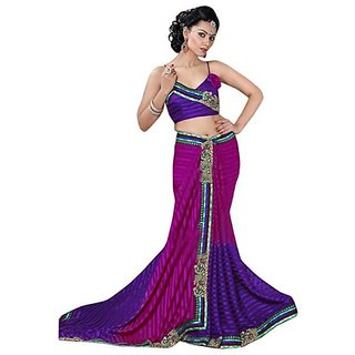 Firstloot Multi Color Sattin Patti Faux Georgette Embroidered Party Wear Saree