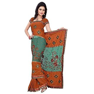 Firstloot Orange Color Net Faux Georgette Embroidered Party Wear Saree