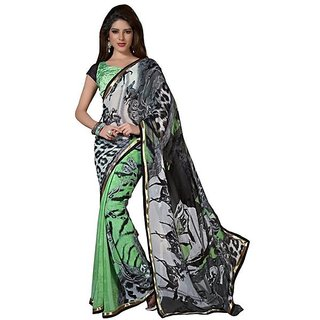 Firstloot Trendy Multi Color Faux Georgette Printed Casual Wear Saree