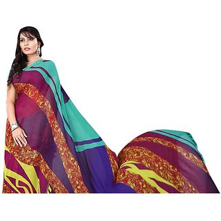 Firstloot Chic Contemporary Printed Stylish Faux Georgette Saree
