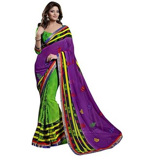 Firstloot Startling Brocade Bordered Chiffon Saree