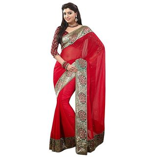 Firstloot Red Color Chiffon Faux Georgette Border Work Festive Wear Saree