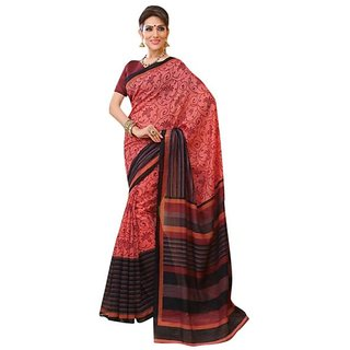 Firstloot Red Color Cotton Silk Printed Casual Wear Saree