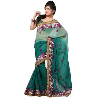 Firstloot Green Color Faux Chiffon Embroidered Party Wear Saree