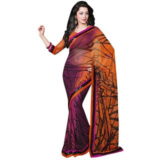 Firstloot Purple Color Faux Georgette Printed Casual Wear Saree