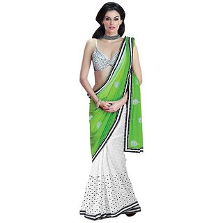 Firstloot White Color Faux Georgette Viscose Embroidered Party Wear Saree