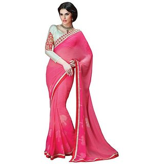 Firstloot Stylish Pink Color Faux Georgette Border Work Festive Wear Saree
