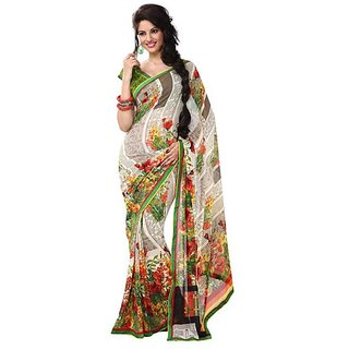 Firstloot Stylish Multi Color Faux Georgette Printed Casual Wear Saree