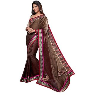Firstloot Brown Color Jacquard Border Work Festive Wear Saree