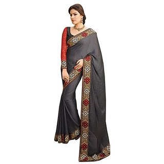 Firstloot Black Color Satin Border Work Festive Wear Saree